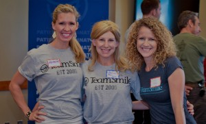 Volunteers during the TeamSmile event. TeamSmile is an organization that teams up professional athletes with local health professionals to promote health and wellness through oral health and hygiene.